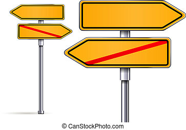 blank signs pointing in opposite directions vector...
