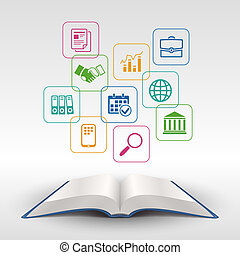 Business education book concept - Business education open...