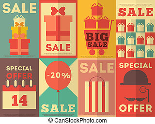 Sale Posters Collection - Sale Posters Retro Collection in...