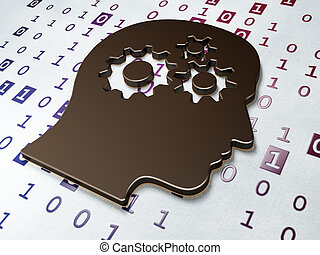 Data concept:  Head With Gears on Binary Code background