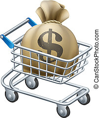 Money shopping cart trolley of a shopping cart or trolley...