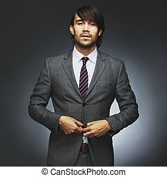 Attractive young male model wearing stylish suit - Portrait...