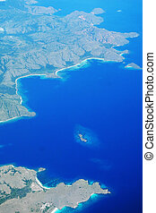 Aerial view of islands - Aerial view of Komodo islands,...