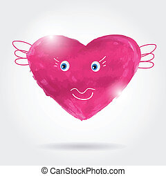 Beautiful greeting vintage Valentine`s card with pink heart.