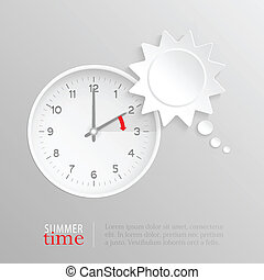 Summer time change clock with sun speech bubble - Sun shaped...