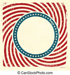 Swirly stripes and stars USA grunge background - Vintage...
