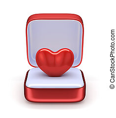 Love concept - 3d render of heart in the gift box Love...