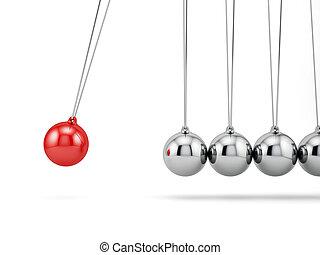 newton balls - 3d render of newton balls isolated on white...