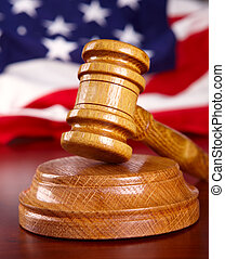 Judges gavel with flag - Judges wooden gavel with USA flag...