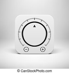 White Abstract Icon with Volume Knob Button - White abstact...