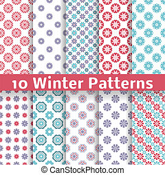 Light winter romantic vector patterns (tiling). - 10 Light...