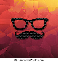 Abstract Triangle Background With Hipster Moustaches, Vector...