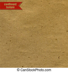 Cardboard Texture With Red Ribbon, Vector Illustration