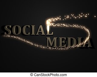 SOCIAL MEDIA from metal letters with beautiful 3D glowing...