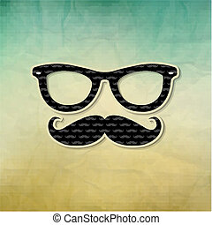 Vintage Hipster Poster, With Gradient Mesh, Vector...