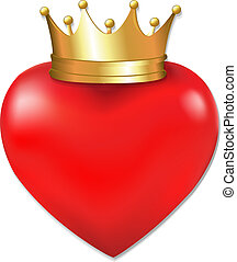 Heart In Crown, With Gradient Mesh, Vector Illustration