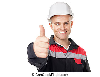 Engineer with thumb up - Portrait of young smiling engineer...