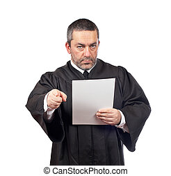 Judge reading the sentence - Serious male judge reading the...