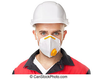 Young worker wearing safety protective gear - Portrait of...