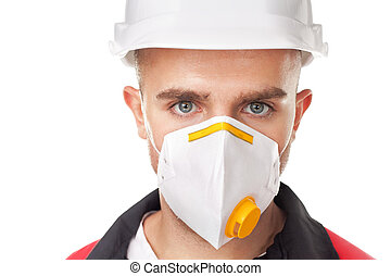 Young worker wearing safety protective gear