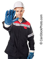 Worker doing stop symbol