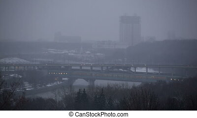 Moscow winter cityscape: panorama of Luzhniki Metro Bridge,...