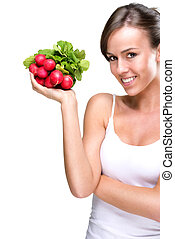 Long live healthily - Beautiful woman holding a bunch of...