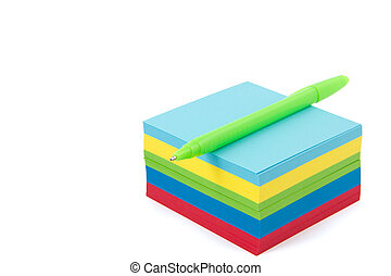 multicolor memo pad with pen on it - multicolor memo pad...