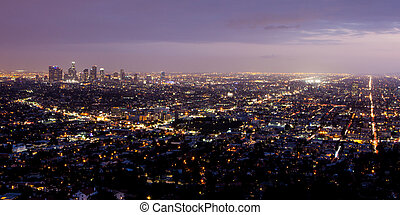 Los Angeles Skyline - The view from Griffith Observatory on...