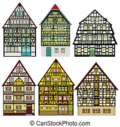 Farm houses in Old Europe - Set of vector based...