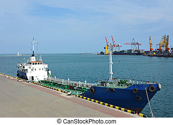 Bunker ship fuel replenishment tanker in port of Odessa,...