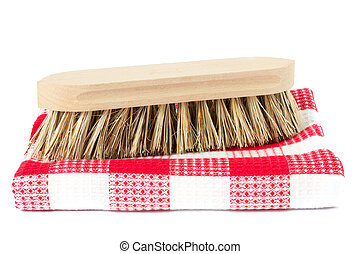 wooden scrubbing brush on tea towel - wooden scrubbing brush...