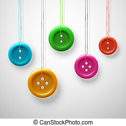 Colorful sewing buttons hanging on threads, eps 10