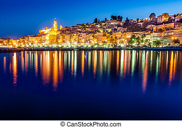 Night skyline of colorful village Menton in Provence, France