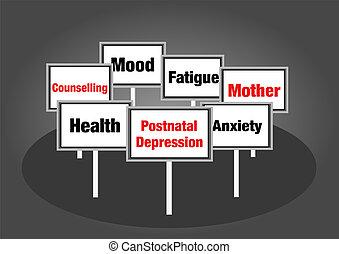 Postnatal Depression signs - Postnatal depression concept...
