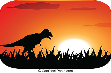 dinosaurs with sunset