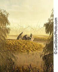 Swamp Dragon - Dragon crawling through a misty swamp, 3d...