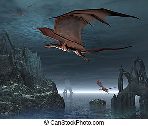 Dragon Islands - Red dragons flying over strange islands in...