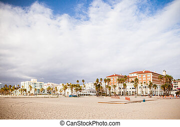 Santa Monica Beach Front - Houses and condos line the Santa...