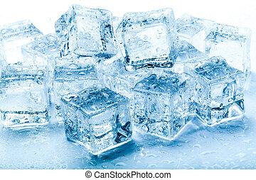 fresco, hielo, cubos