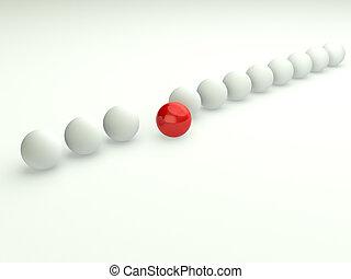 Unique in line concept 3d business illustration