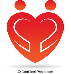 Heart couple shape logo
