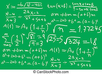 Math - Abstract green borad on it math formulas