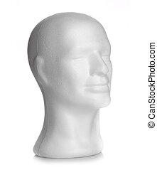 huvud, manlig,  styrofoam