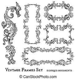 Vintage frames set, detailed and ornated