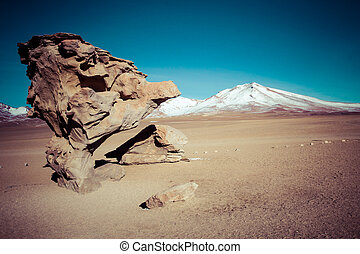 Desert and mountain over blue sky and white clouds on Altiplano,Bolivia