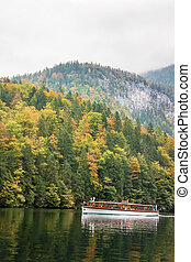 Konigssee lake, Germany - An electric passenger ship on...