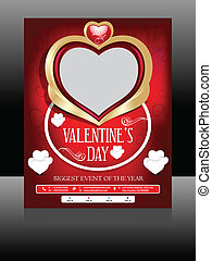 Abstract Valentine Day Flyer Vector