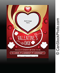 Vector Valentine Day Flyer Design Vector illiustration
