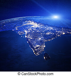 India city lights. Elements of this image furnished by NASA